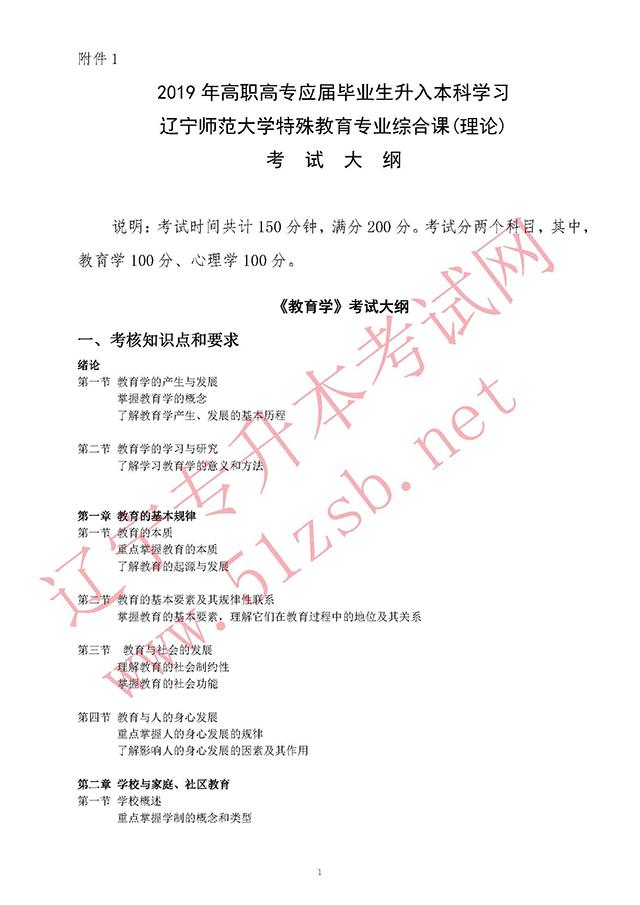 2019年师范类辽师特殊教育专业课考试大纲