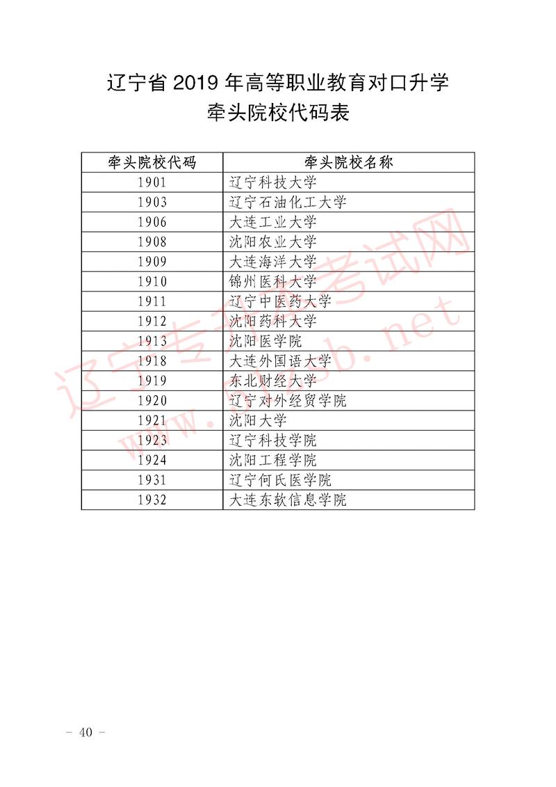 2019年辽宁专升本考试专业课牵头院校代码表
